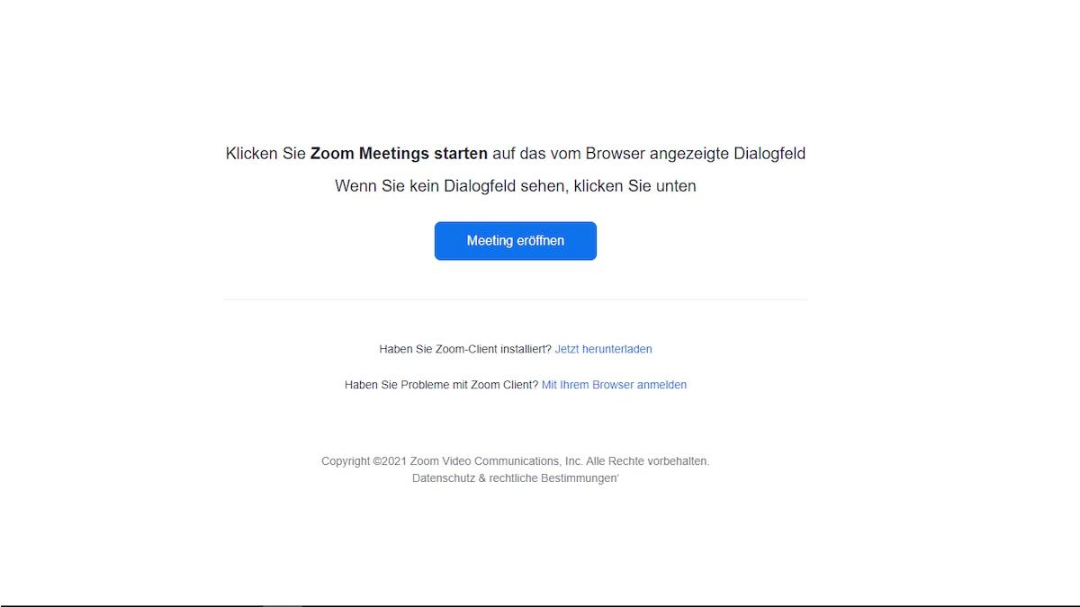 Schritt 1: Einladung zum Meeting im Browser öffnen.