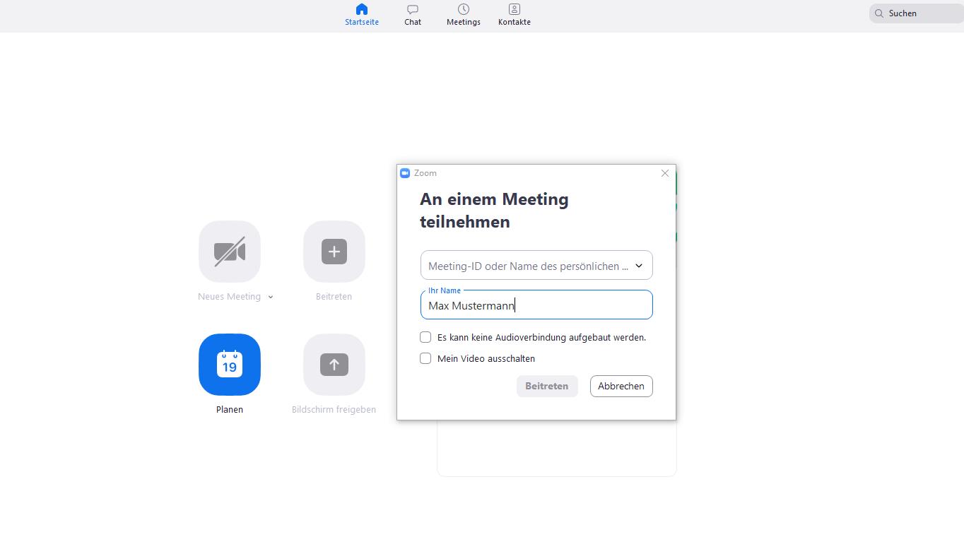 Einem Zoom Meeting können Sie leicht beitreten.