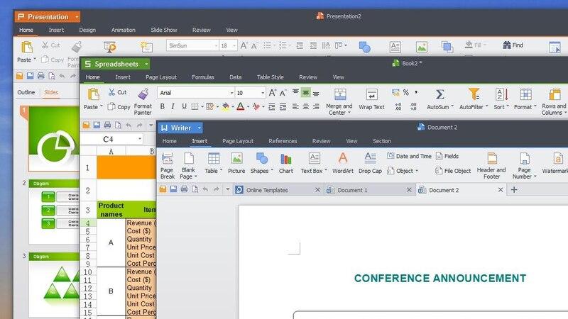 Kingsoft-Office hat ein ähnliches Design wie Microsoft-Office