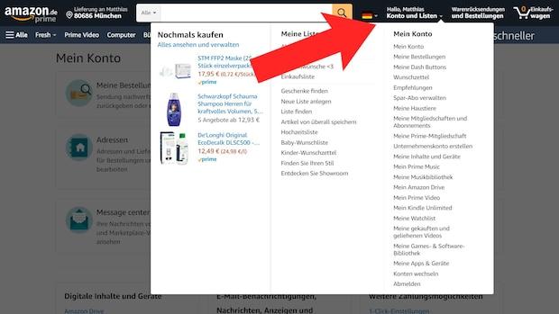 Um den Amazon-Rückrufservice in Anspruch zu nehmen, müssen Sie zuerst mit der Maus über
