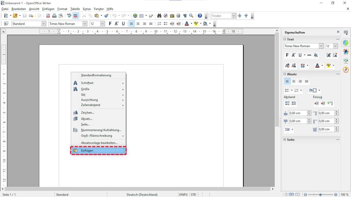 Kopieren und Einfügen von Bildern funktioniert ebenfalls in OpenOffice