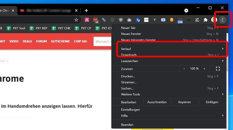 Browserverlauf anzeigen im Chrome