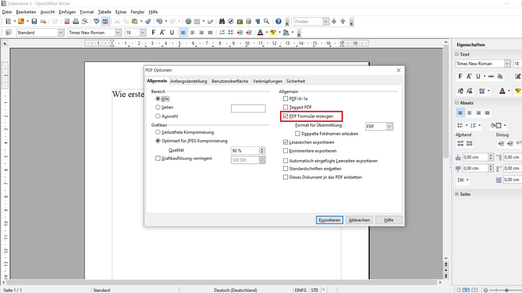 Dokument exportieren als PDF