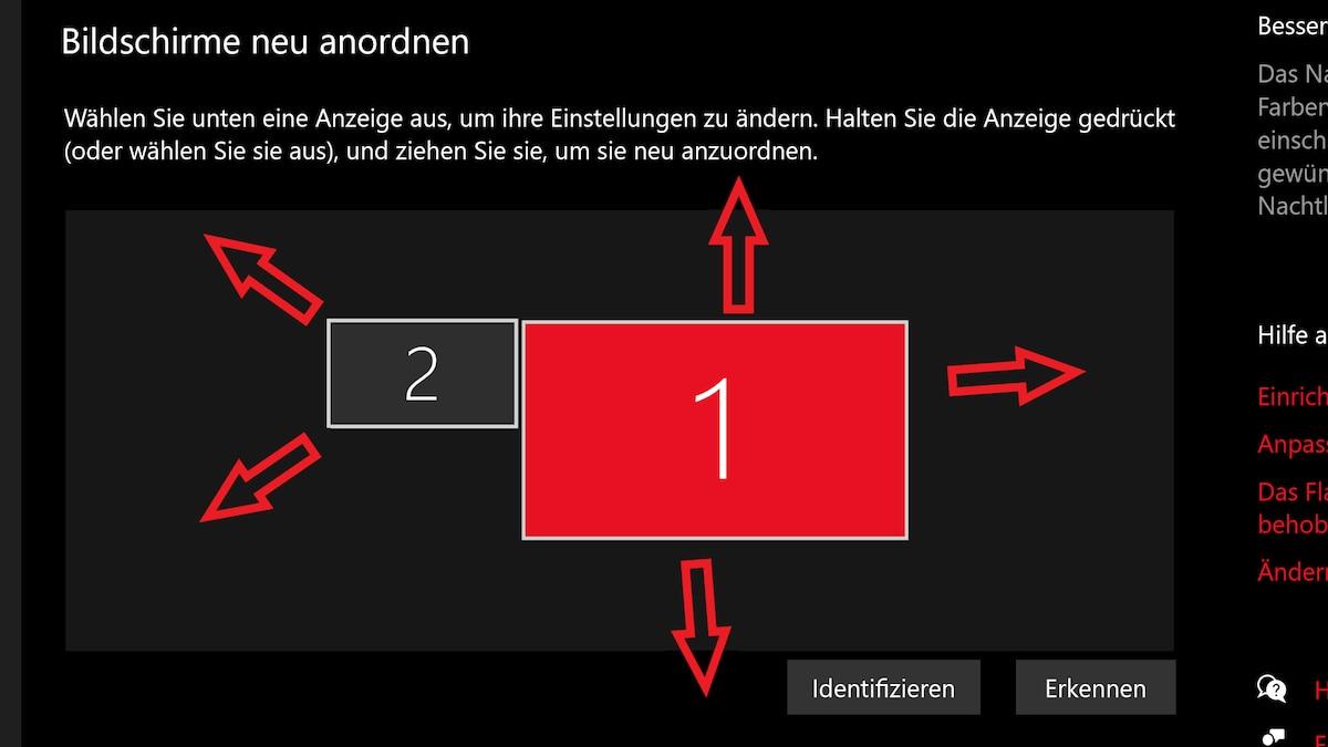 Beim Erweitern des Bildes können Sie frei wählen, wie die beiden Bildschirme zueinander ausgerichtet sind.
