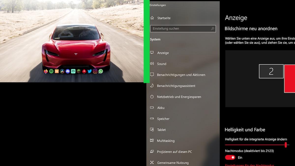 Das bestimmt dann den Übergangsbereich. Nur hier (grüne Linie) kann die Computermaus von einem zum anderen Bildschirm übergehen. Alle Fenster, die in den roten Bereich ragen, werden auf keinem der beiden Monitore angezeigt.