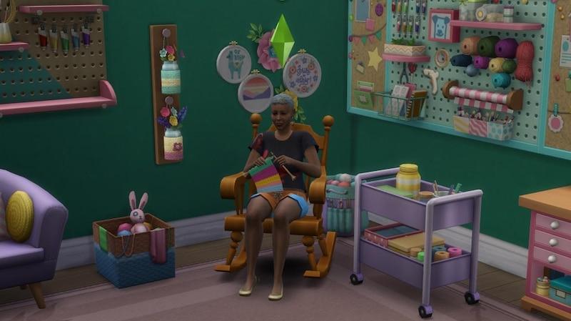 Sims 4 - Schick mit Strick: Ihre Sims können unter anderem Mützen, Socken und Möbel stricken.