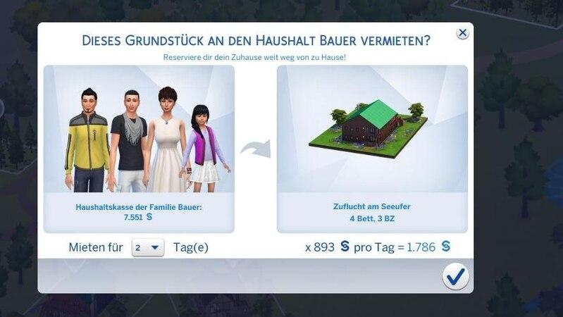 Wenn Ihre Sims mal entspannen wollen, können sie ganz einfach in den Urlaub fahren.