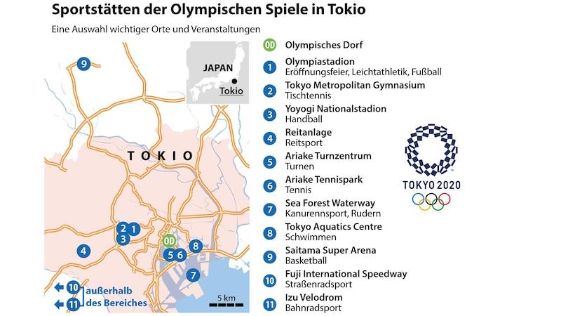 Standorte der olympischen Wettkampfstätten für Tokio 2021