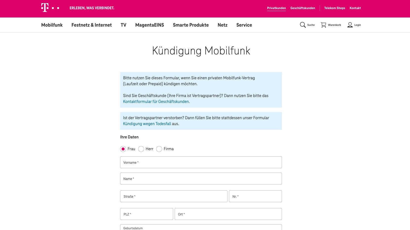 Vertrag bei T-Mobile kündigen