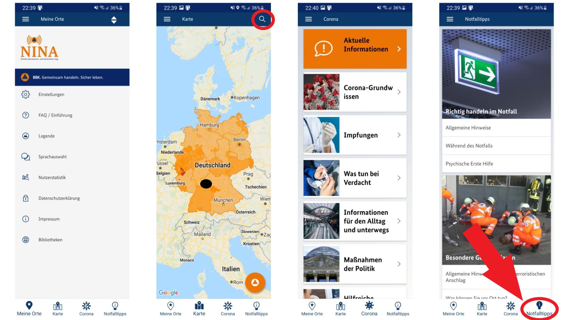 Neben Warnungen können Sie auch hilfreiche Notfalltipps jederzeit in der App finden.