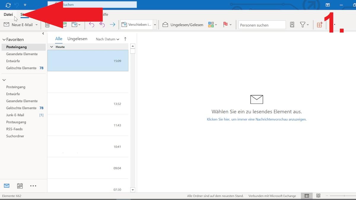Um bei Outlook eine Abwesenheitsnotiz durch eine Regel zu erstellen melden Sie sich zunächst an und klicken links oben auf