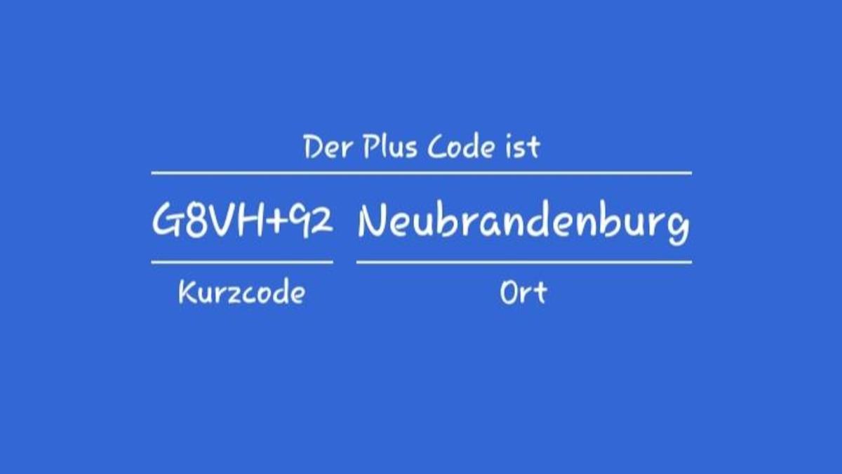 Wenn Sie auf das Fragezeichen neben dem Plus Code klicken, erhalten Sie ihn noch einmal auf einem Extrabildschirm und sehen, wie er lautet.