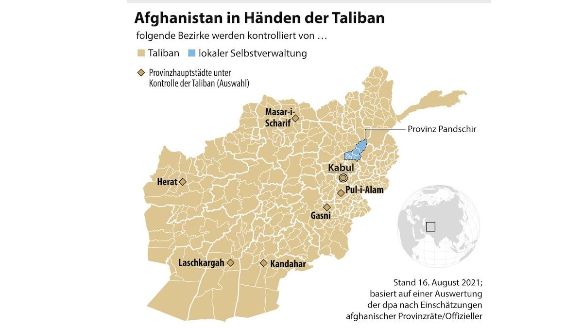 Taliban-Gebiete in Afghanistan, Stand: 16. August 2021