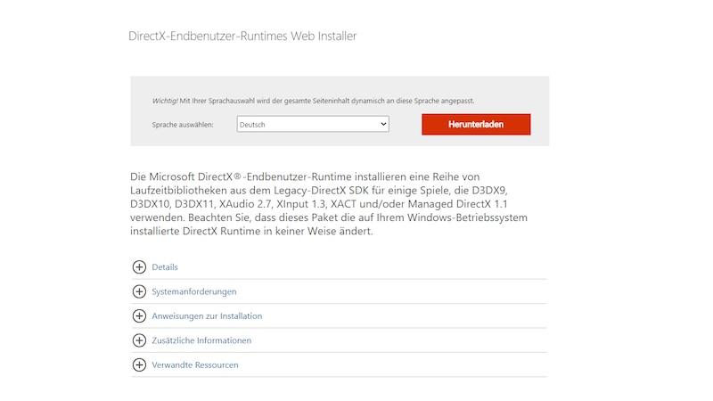 DirectX aktualisieren - bei Microsoft herunterladen