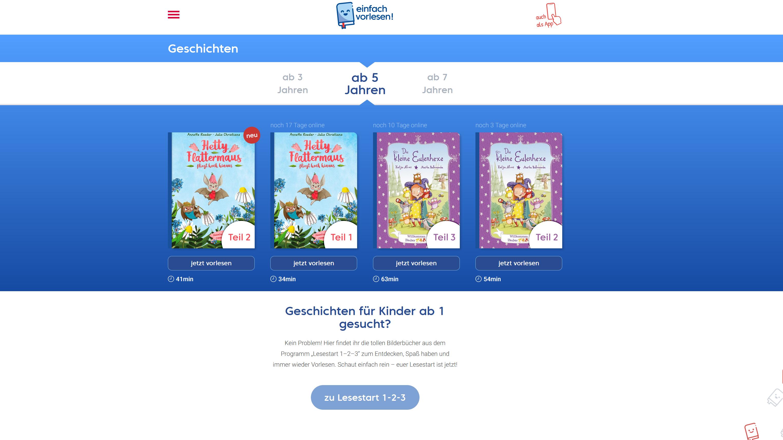 Auf einfachvorlesen.de können Sie jede Woche neue Kinderbücher kostenlos online lesen und auch downloaden.
