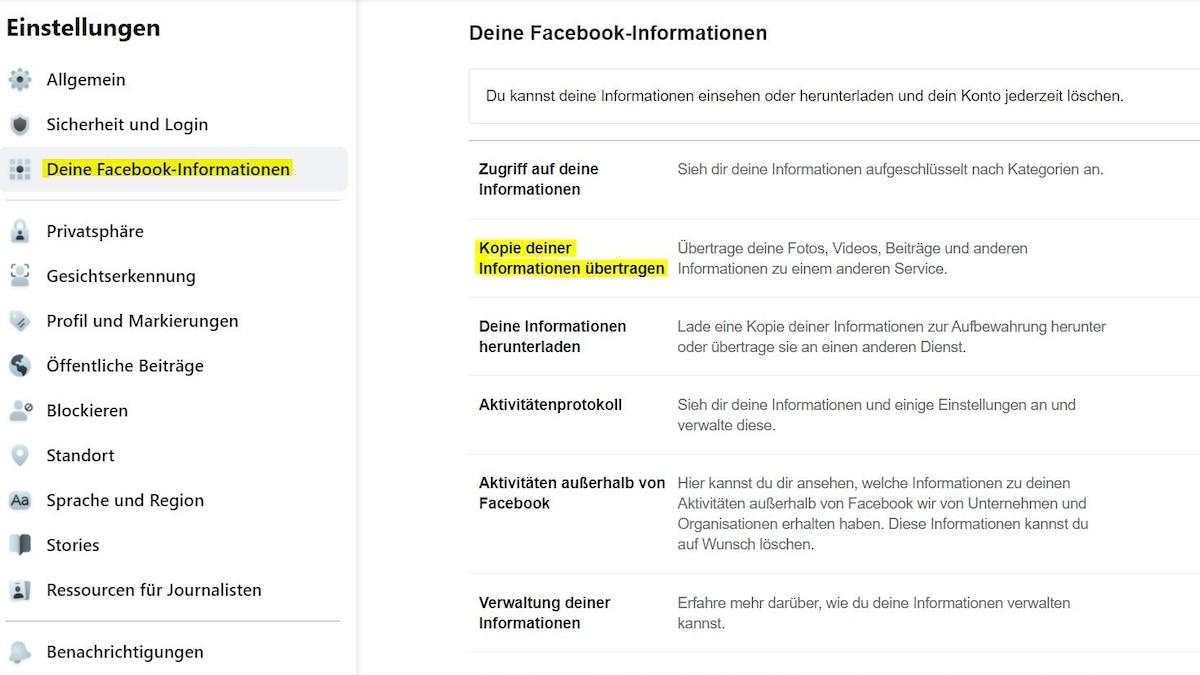 Um Ihre Bilder von Facebook nach Google Fotos  zu übertragen, müssen Sie zu erst in Ihre Facebook-Einstellungen.