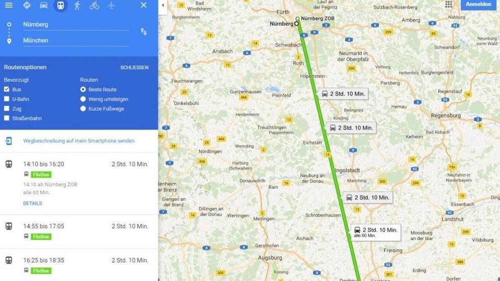Fernbus-Verbindungen wie der Flixbus können mit einem kleinen Trick auf in Google Maps angezeigt werden