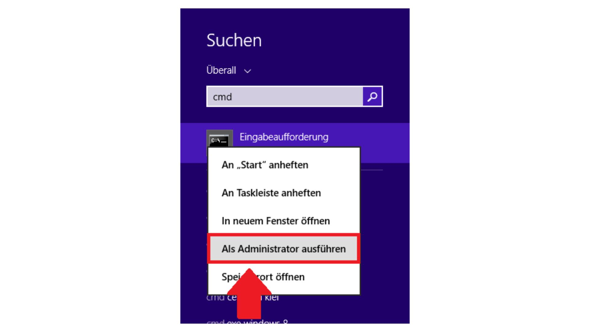 Windows-CMD unter Win 7 oder 8 als Admin starten