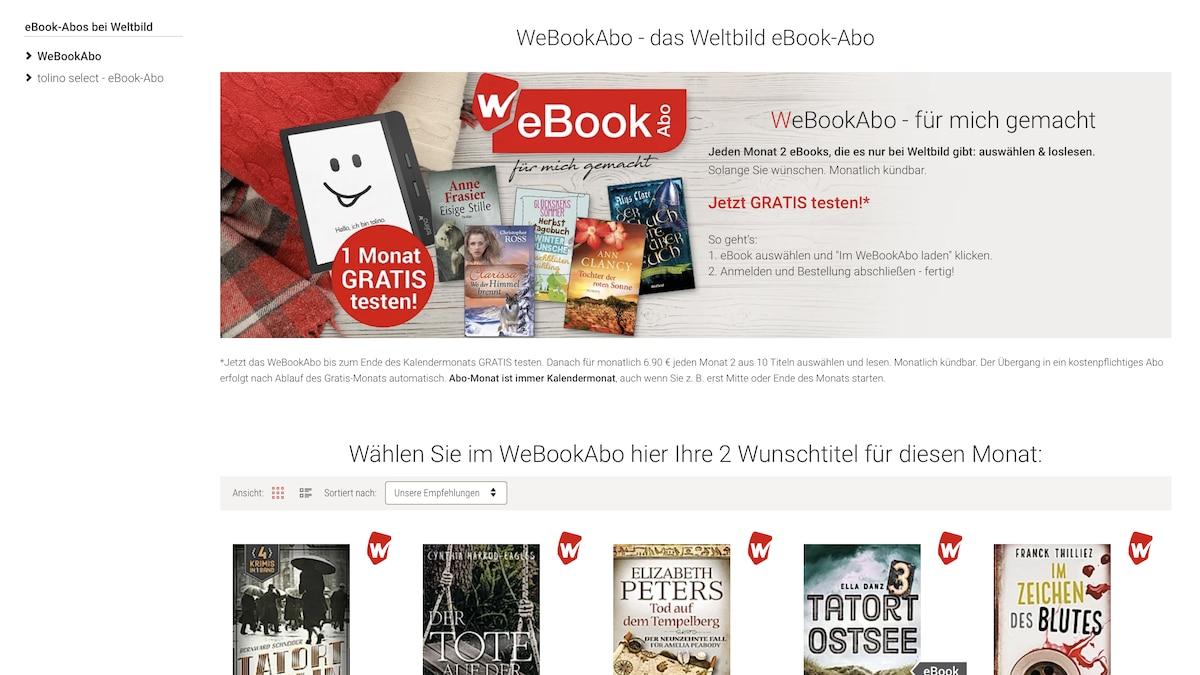 eBooks beim Weltbild WeBookAbo