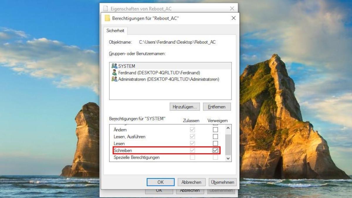 Manchmal kann es sein, dass Windows die Datei automatisch überschreibt. In diesem Fall kopieren Sie die Datei auf den Desktop und verweigern über die Eigenschaften die Berechtigung zum Schreiben. Anschließend kann die Datei wieder in den Ursprungsordner eingefügt werden.