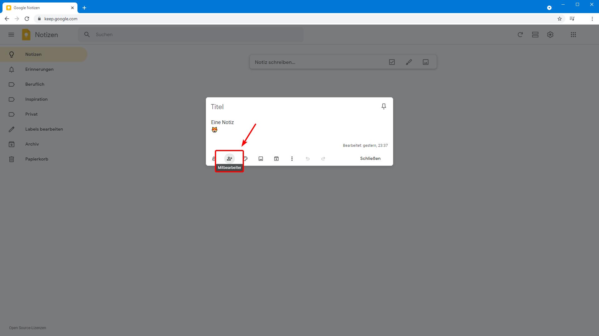 Google Notizen auf dem PC teilen