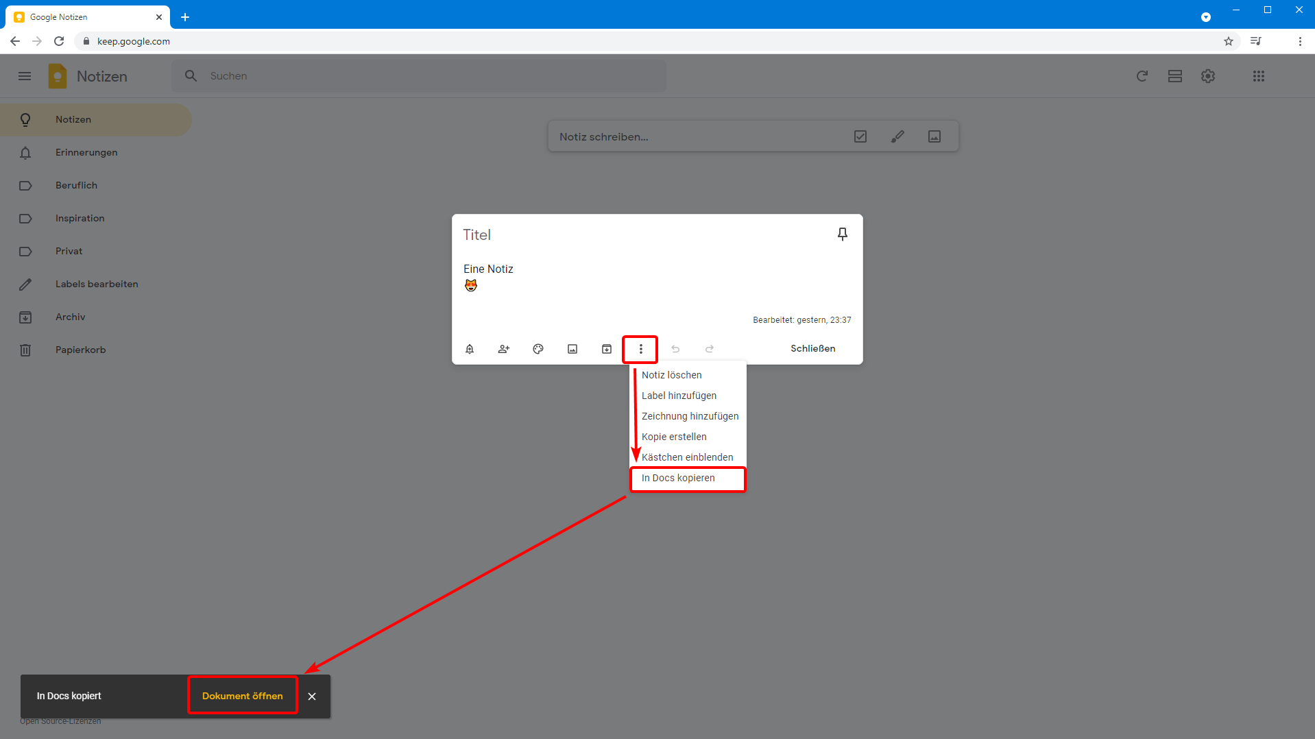 Eine Google Notiz in Docs speichern