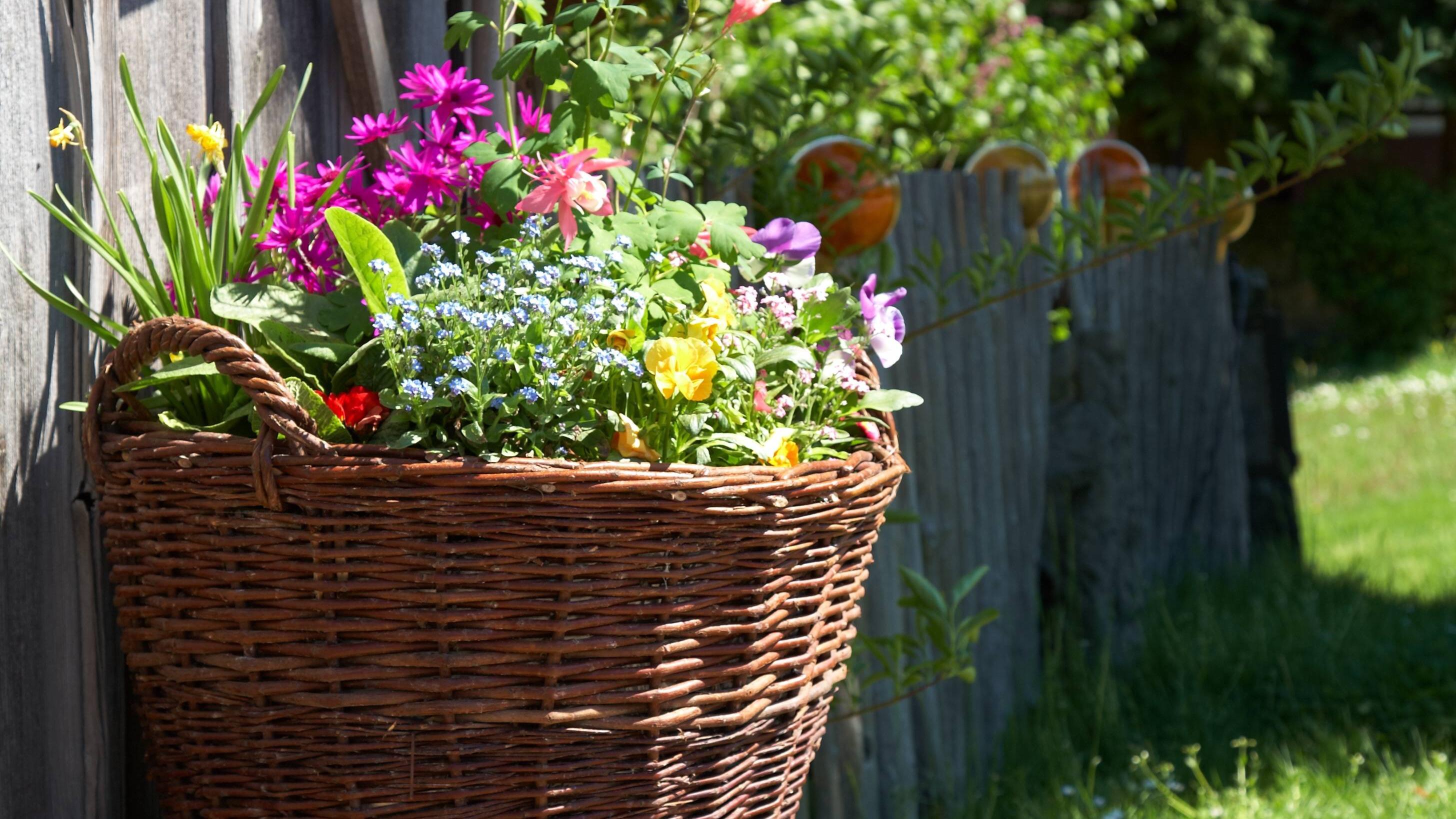Ein Korb lässt sich mit Blumen schön und einfach dekorieren
