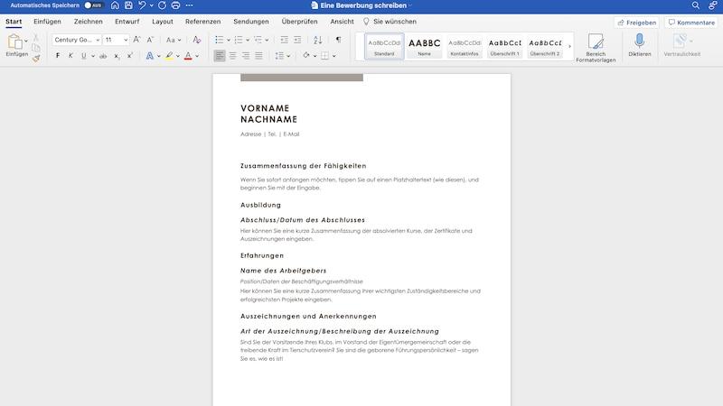 Bei MS Word finden Sie viele hilfreiche Vorlagen, um Ihre Bewerbung zu erstellen.