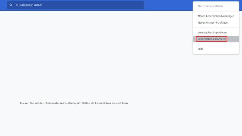"""Lesezeichen in Google Chrome können Sie über den Lesezeichen-Manager exportieren. Öffnen Sie diesen über das Menü oben rechts, klicken Sie auf die drei Punkte und wählen Sie """"Lesezeichen exportieren""""."""