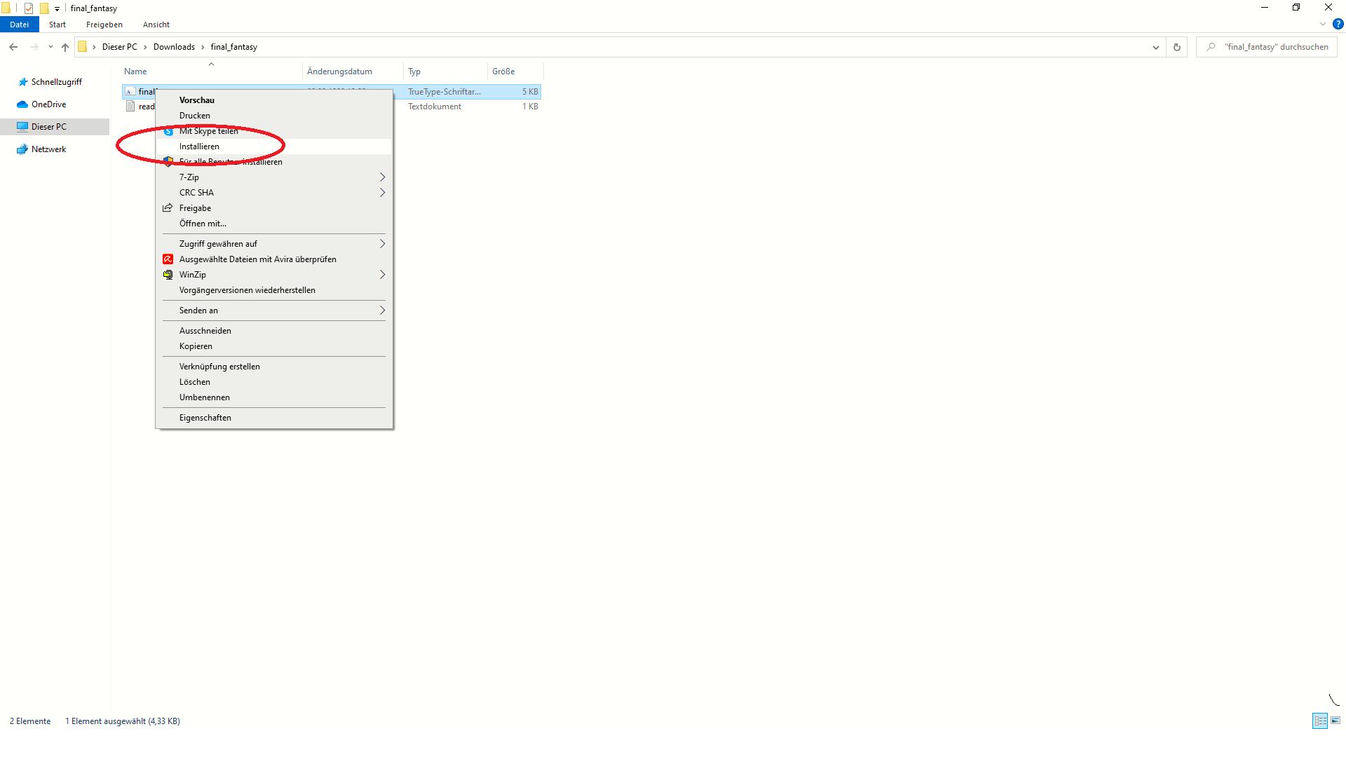 Dafont: Heruntergeladene Schriften lassen sich mit einem Rechtsklick auf die Datei installieren.