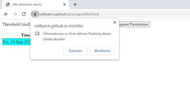 Google hat mit Chrome 94 eine Idle Detection API eingeführt. Bevor die Funktion aktiv ist, müssen Sie diese jedoch auf der entsprechenden Webseite zulassen.