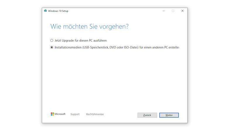 Windows 10 per Media Creation Tool wiederherstellen