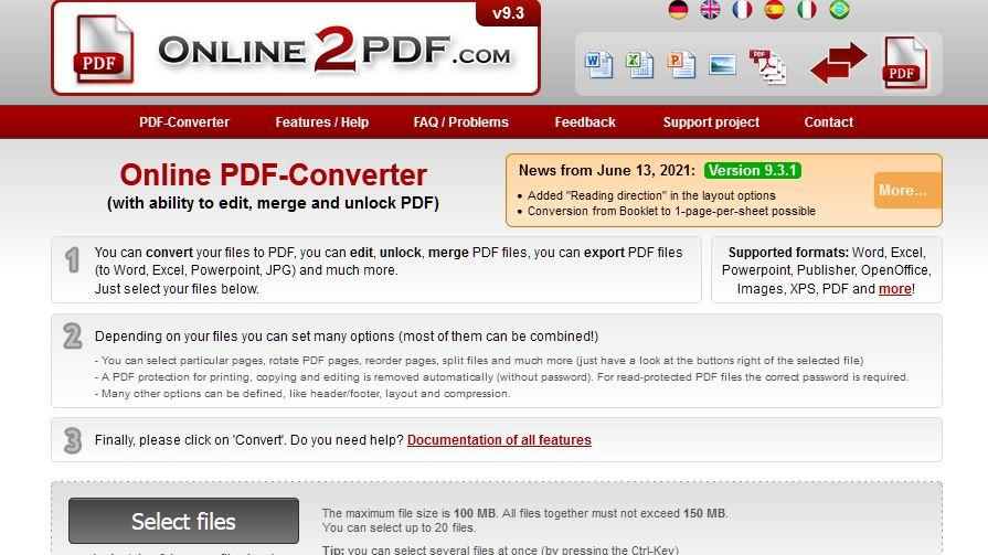 Auf online2pdf können Sie eine PDF in schwarz-weiß umwandeln.