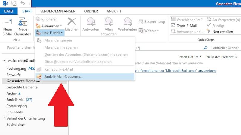Junk-E-Mail-Optionen in Outlook öffnen