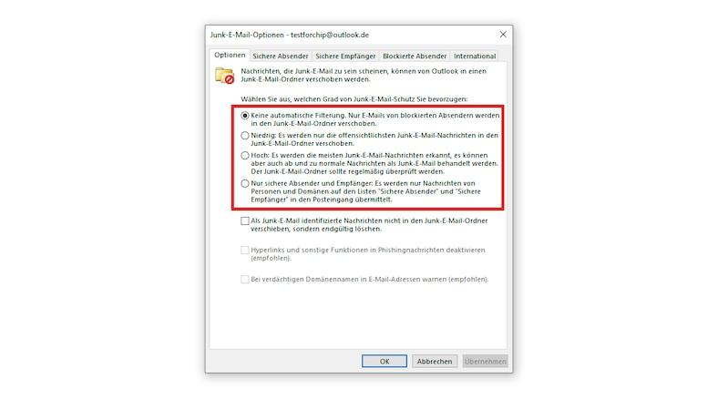 Outlook: Junk-E-Mail-Filter konfigurieren