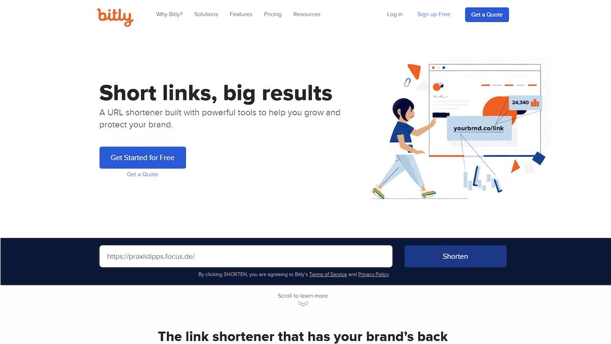 Um einen Link zu kürzen, sind TinyURL und Bitly hilfreiche Tools. Fügen Sie den Link bei Bitly ein und drücken Sie auf
