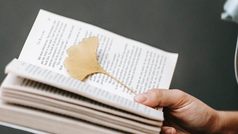 Auch Bücher eignen sich gut zum Trocknen von Blättern, um diese für das Basteln vorzubereiten.