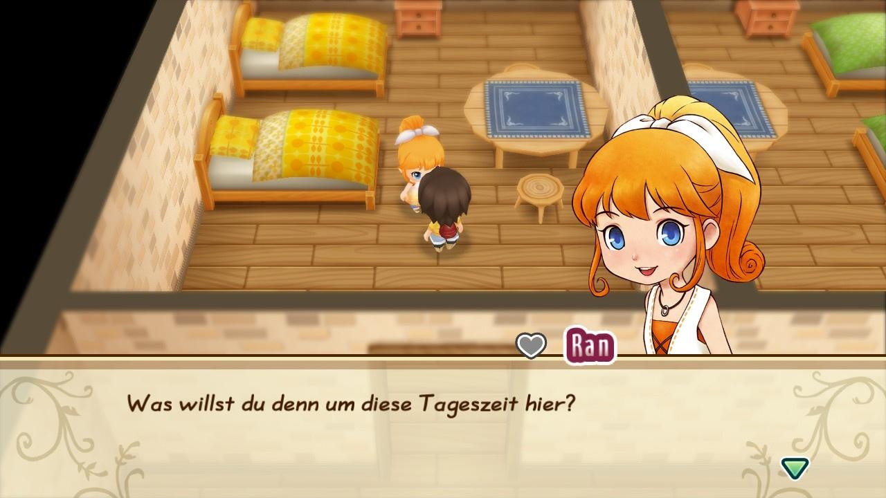 Ran aus Story of Seasons – Friends of Mineral Town hilft im Gasthaus ihres Vaters.