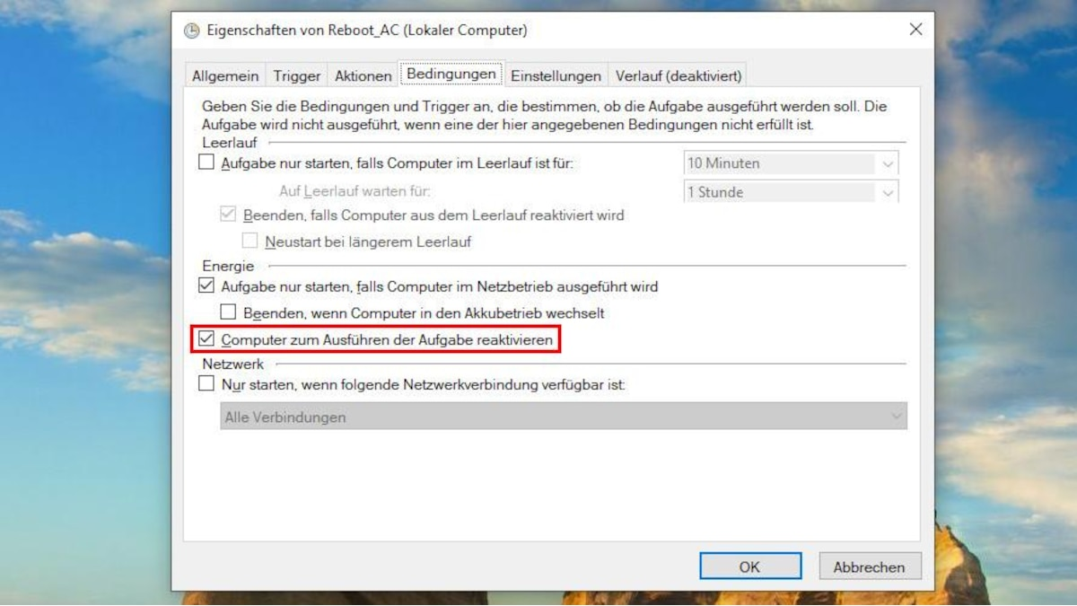 Öffnen Sie anschließend die Aufgabenplanung und naviigeren Sie zur entsprechenden Datei. Über einen Doppelklick auf die Datei können Sie im Reiter