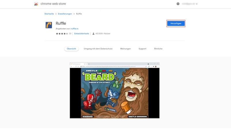 Als Alternative zum Adobe Flash Player gibt es Ruffle. Die Browser-Erweiterung kann im Chrome Web Store direkt über den Button