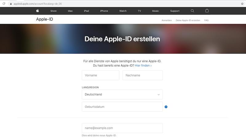 Apple-ID erstellen im Browser