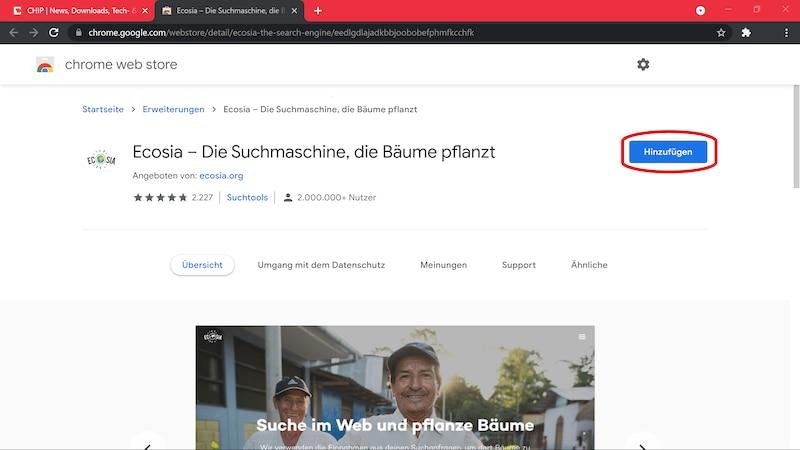 Installieren Sie Ecosia aus dem Chrome Web Store.