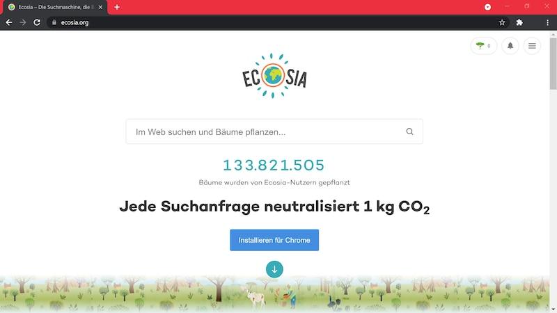 Wollen Sie Ecosia nicht auf ihrem Gerät installieren, können Sie die Web App nutzen.