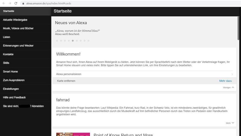 Screenshot Alexa Web
