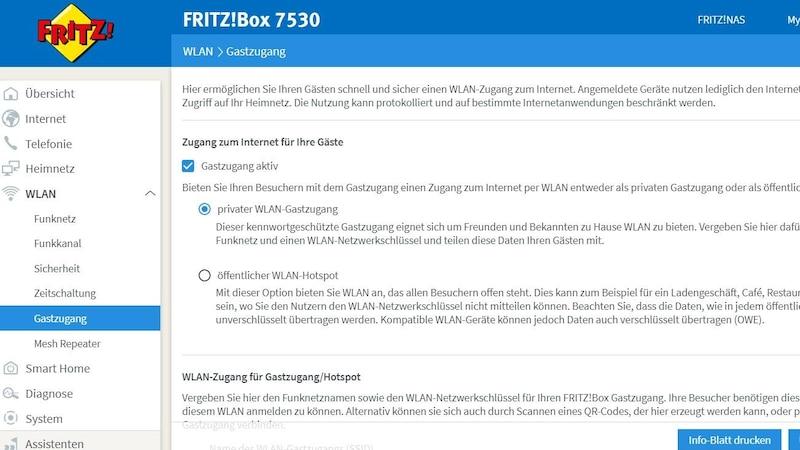 Mit wenigen Klicks können Sie einen FritzBox Gastzugang einrichten.
