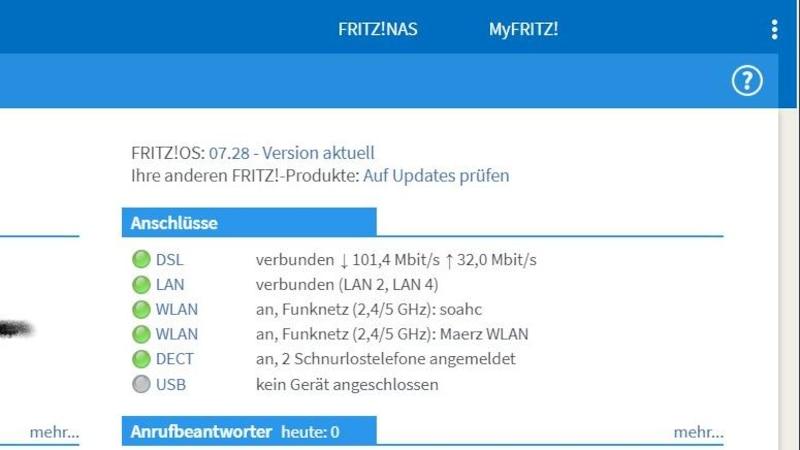 In der Übersicht können Sie ein Update für Ihre FritzBox installieren.