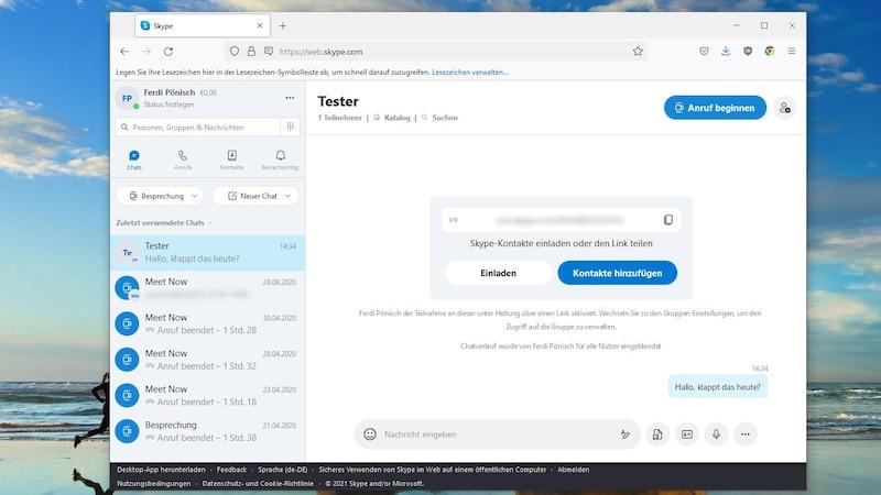 Kostenlose Alternativen zu Microsoft Teams gibt es viele. Eine davon ist Skype. Hier sind neben normalen Textchats auch Videokonferenzen möglich.