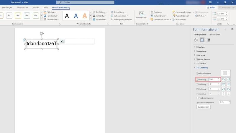 Sie können Ihr Dokument auch direkt über WordArt spiegeln. Wandeln Sie dafür den Text zuerst in ein WordArt-Objekt um wählen Sie dann die 3D-Drehungsoptionen