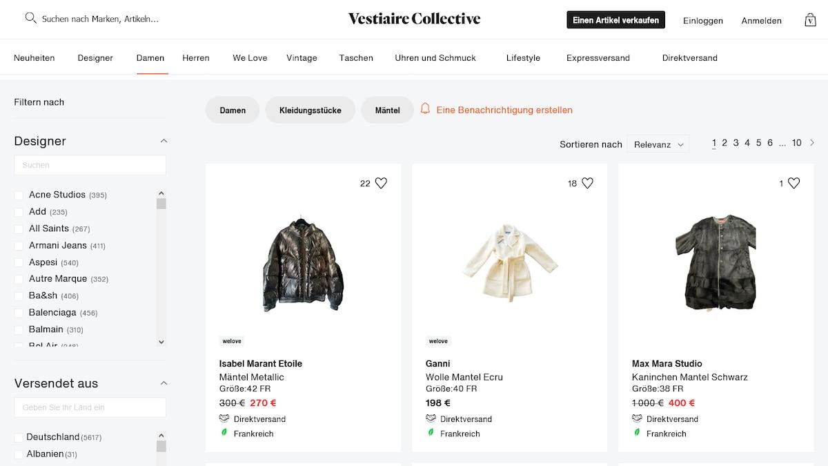Hochwertige Designerkleidung aus zweiter Hand auch von internationalen Verkäufern bietet Vestiaire Collective. Die Abwicklung läuft komplett über die Online-Plattform.