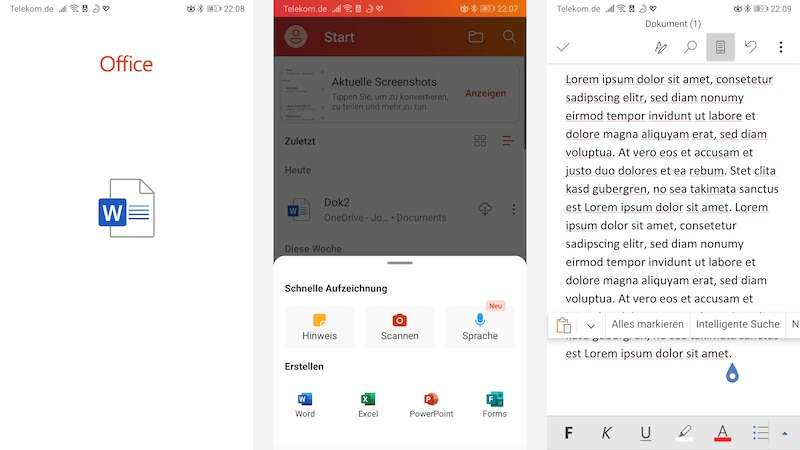 Mit den Office Apps können Sie die wichtigsten Word Funktionen kostenlos und mobil nutzen